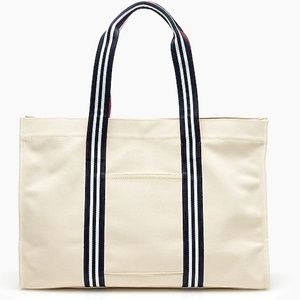 J Crew Large canvas tote with striped straps